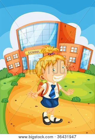 illustration of a girl infront of school building