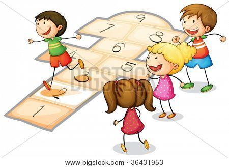 illustration of a kids playing a number game