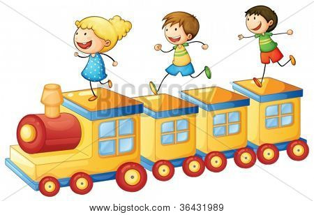 illustration of a kids playing on a toy train
