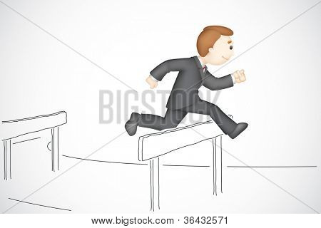 illustration of 3d business man in vector running in hurdle