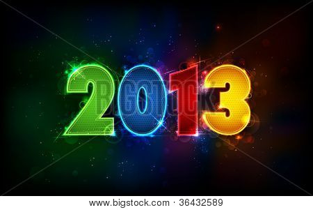 illustration of shiny 2013 in happy new year background
