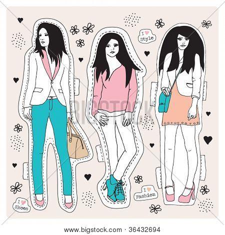 Moda modelo adolescentes posando para la ilustración de ropas en vector