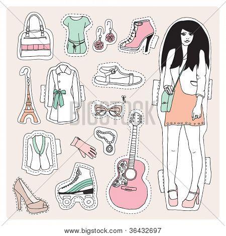 Ilustración de modelo de moda cool vintage rock chick en vector
