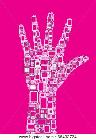 Silhouette of hand made with Cellphones and Smartphones in magenta background