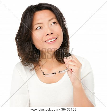 Thinking Mature Asian Woman