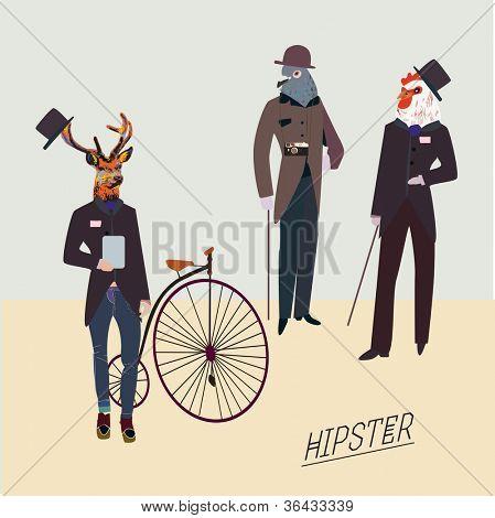 Hipster retro animales como