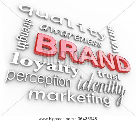 The word Brand and associated terms and phrases such as quality, loyalty, awareness, strength, perception, value, trust, identity and marketing