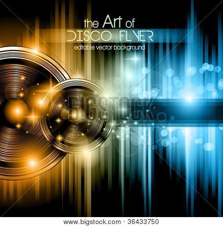 Disco Club-Flyer mit vielen abstrakten bunten Design-Elemente. Ideal für Poster und Musik backgro