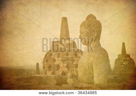 Vintage Image Of Buddha Statue At Borobudur Temple, Java, Indonesia.