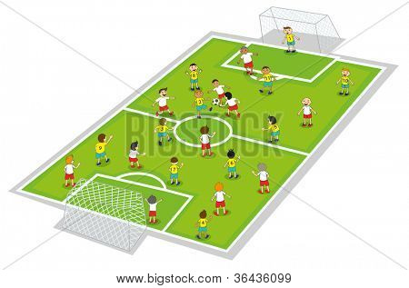 illustration of boys playing football on ground