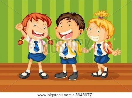 illustrtion of kids in school uniform on green background