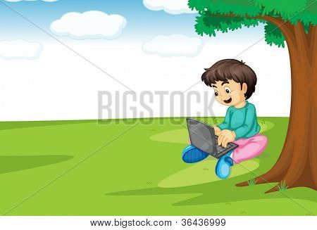 illustration of a boy and laptop under a tree