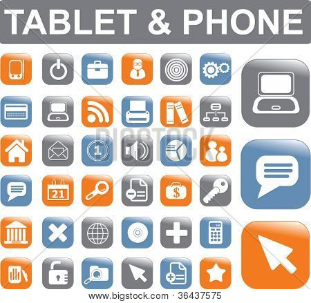 tablet & mobile phone apps icons, buttons set, vector