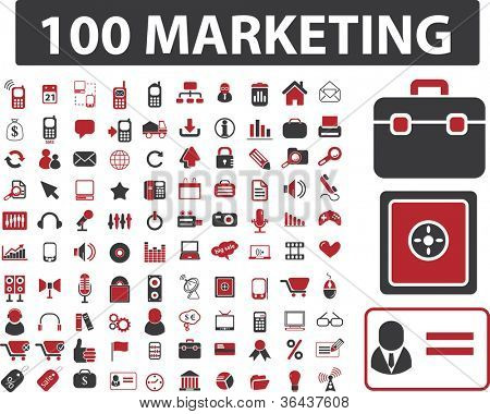 100 marketing & conjunto de iconos de finanzas, vector