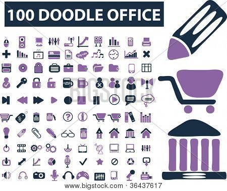 100 doodle business icons set, vector