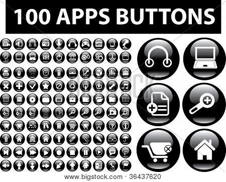 100 apps black glossy buttons set, vector