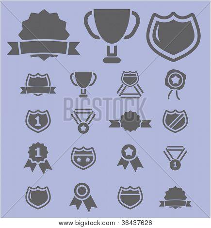 awards icons set, vector