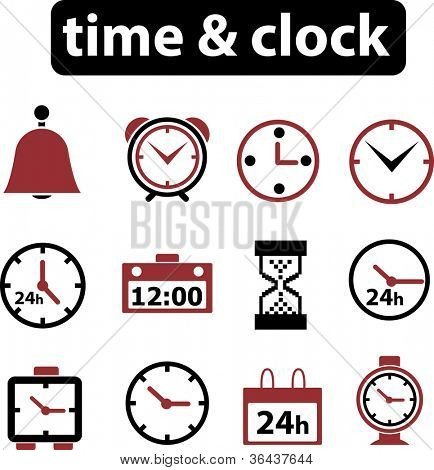 time & clock icons set. vector