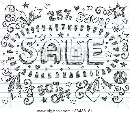 Sale Sketchy Notebook Doodles Discount 50 Percent Off Shopping Hand-Drawn Illustration Design Elements on Lined Sketchbook Paper Background