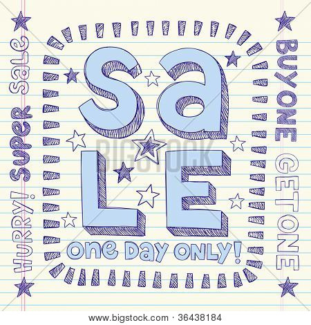 Sale Sketchy Notebook Doodles Discount Vector Tag Hand-Drawn Illustration Design Elements on Lined Sketchbook Paper Background
