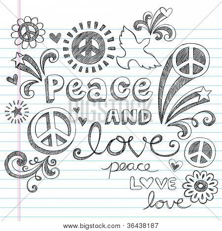 Peace Sign, Dove, and Love Sketchy Notebook Doodles Design Elements on Lined Sketchbook Paper Background- Vector Illustration