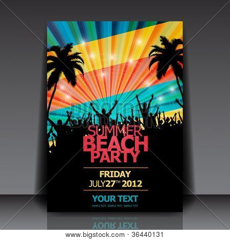 Retro verano Beach Party Flyer - diseño vectorial