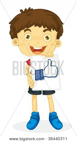 illustration of a boy holding thumb picture on white