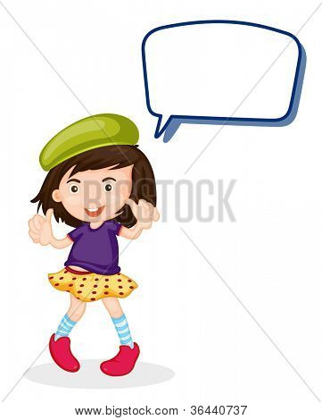 illustration of a girl and call out on a white background