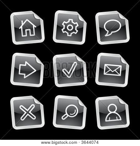 Web Icons, Black Glossy Sticker Series