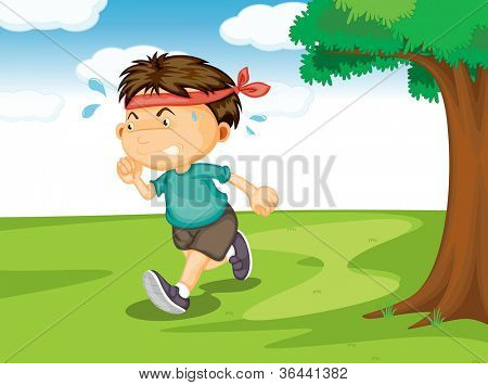 illustration of a boy running outside in the nature