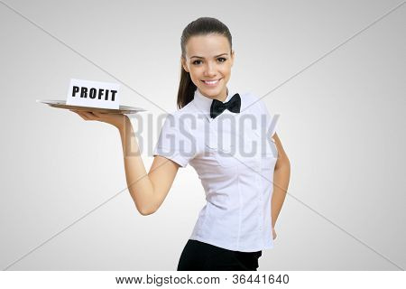 Waitress holding a tray with word profit on it