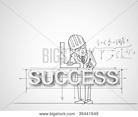 Black and white pencil drawing about success in business