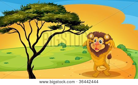 illustration of a lion playing on road