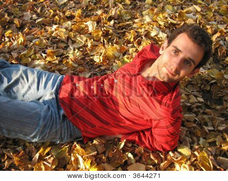 Happy Man On Leaves