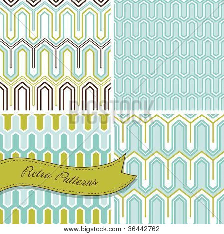 A set of seamless retro patterns. This stylish Mosaic can be used for wallpapers, pattern fills, web page background and surface textures