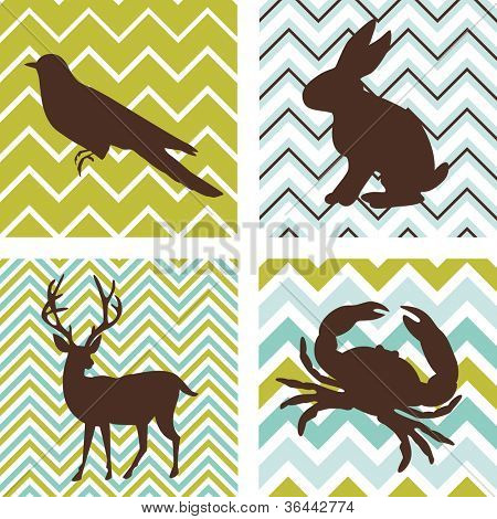A set of 4 seamless retro patterns and 4 silhouettes of animals. Could be used as wall art.