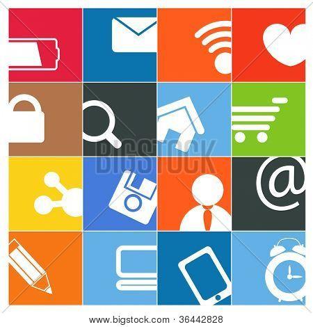 Modern social media color buttons interface