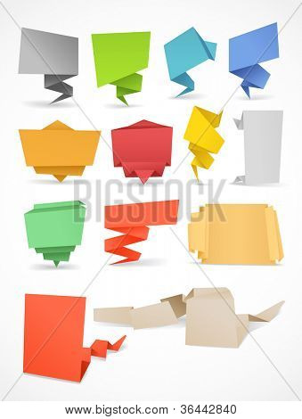 Colorful polygonal origami banners set. Place your text here