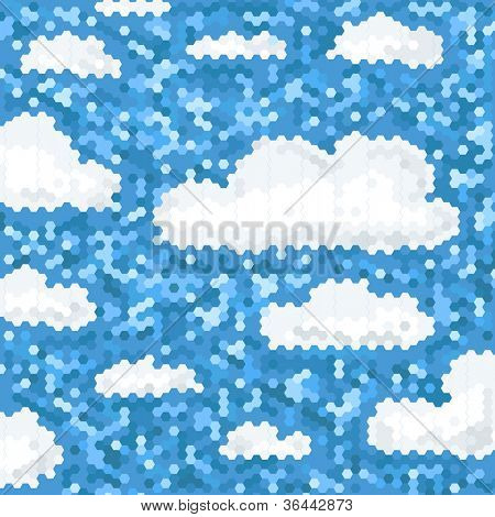 Abstract clouds background of polygonal tile