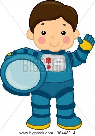 Illustration of a Young Boy Wearing a Spacesuit