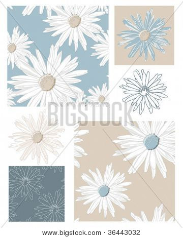 Seamless Vector Floral Daisy Patterns and Icons.  Use to create patchwork pieces for quilts or other fabric projects or digital paper for scrap booking.