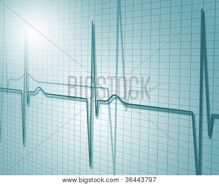 Image of heart beat picture on a colour background