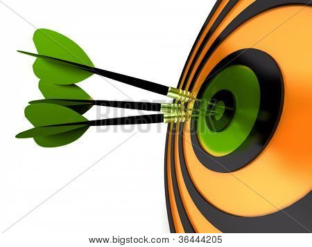 abstract 3d illustration of arrows in target
