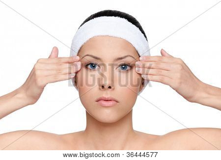 Facelift for a young pretty woman, isolated, white background