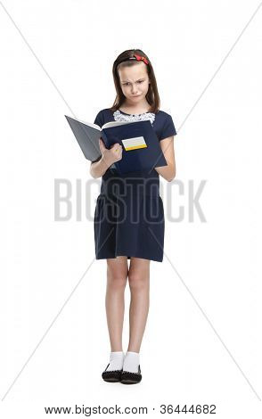 Thoughtful schoolgirl carries her books, isolated, white background