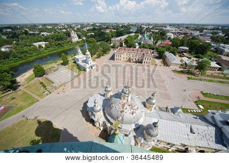 Kremlin square with Alexander Nevsky church, Belfry Sophia cathedral, Holy Resurrection cathedral in Vologda, Russia, view from above