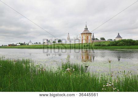 Saviour Prilutskyl Monastery near river in Vologda, Russia, southern wall