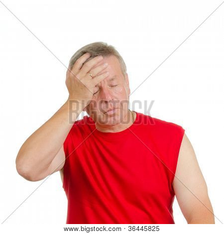 A man smacking his forehead. Isolated on white. Body language. Disappointment. Self-accusation.