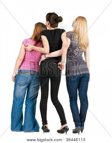 back view of group of happy women discussing and watching with interest. girls team girlfriends together. Rear view people. Isolated over white background.