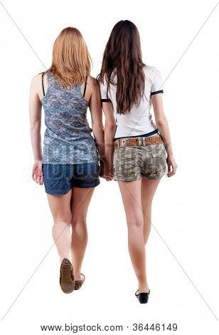 Back view going of two young  woman (brunette and blonde) . Rear view people collection. backside view of person. beautiful girl friends walking.  Isolated over white background.